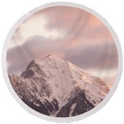 Mountain Peak At Sunrise Round Beach Towel