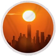 New York City Sunrise Round Beach Towel