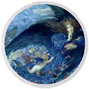 Round Beach Towel featuring the painting Night With Her Train Of Stars by Edward Robert Hughes