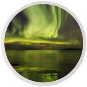 Northern Lights Reykjavik Round Beach Towel