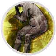 Nude Woman Round Beach Towel by Svelby Art