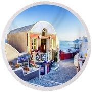 Oia, Santorini - Greece Round Beach Towel