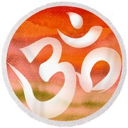 Om Symbol. Orange Round Beach Towel