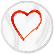 Round Beach Towel featuring the drawing Painted Heart - Symbol Of Love by Michal Boubin