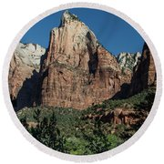3 Peaks In Zion  Round Beach Towel by John McGraw