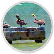 Round Beach Towel featuring the painting 3 Pelicans by David  Van Hulst