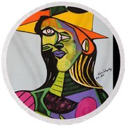 Picasso By Nora Round Beach Towel by Nora Shepley