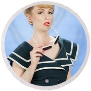 Pin Up Style Round Beach Towel