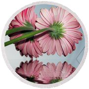 Pink Gerbers Round Beach Towel by Elvira Ladocki