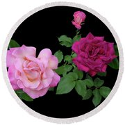 3 Pink Roses Cutout Round Beach Towel by Shirley Heyn