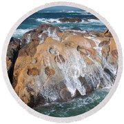 Point Lobos Concretions Round Beach Towel by Glenn Franco Simmons