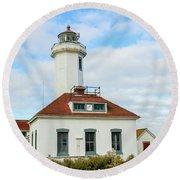 Round Beach Towel featuring the photograph Point Wilson Lighthouse by E Faithe Lester