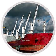 Port Of Amsterdam Round Beach Towel