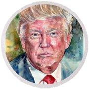 President Donald Trump Portrait Round Beach Towel