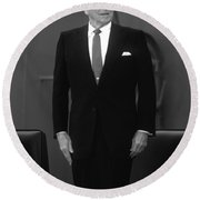 Round Beach Towel featuring the photograph President Ronald Reagan by War Is Hell Store