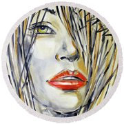Red Lipstick 081208 Round Beach Towel by Selena Boron