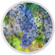 Red Wine Grapes On The Vine Round Beach Towel