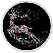 Reindeer Design By Snowflakes Round Beach Towel