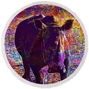 Round Beach Towel featuring the digital art Rhino Africa Namibia Nature Dry  by PixBreak Art