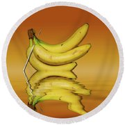 Ripe Yellow Bananas Round Beach Towel