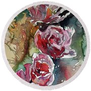 Round Beach Towel featuring the painting Roses by Kovacs Anna Brigitta