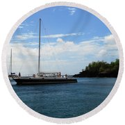 Round Beach Towel featuring the photograph Sail Boat by Gary Wonning