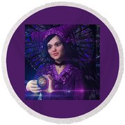 Round Beach Towel featuring the painting Saint Magdalene Of Nagasaki by Suzanne Silvir