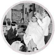 Silent Still: Barber Shop Round Beach Towel
