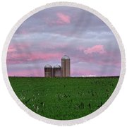 Round Beach Towel featuring the photograph 3 Silos by Robert Geary