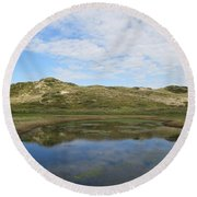 Small Lake In The Noordhollandse Duinreservaat Round Beach Towel