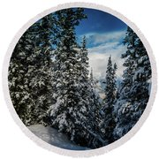 Round Beach Towel featuring the photograph Snow In The Trees by Bill Howard