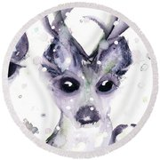 Round Beach Towel featuring the painting 3 Snowy Deer by Dawn Derman
