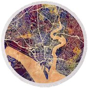 Southampton England City Map Round Beach Towel