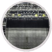 Round Beach Towel featuring the photograph Stage In The Abandoned Theatre by Michal Boubin