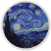 Round Beach Towel featuring the painting Starry Night by Van Gogh