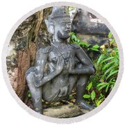 Statue Depicting A Thai Yoga Pose At Wat Pho Temple Round Beach Towel