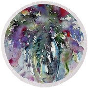 Round Beach Towel featuring the painting Still Life by Kovacs Anna Brigitta