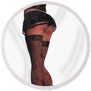 Stockings, Nylons And Legs Series By Mary Bassett Round Beach Towel