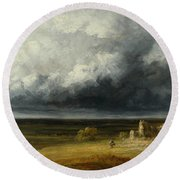 Stormy Landscape With Ruins On A Plain Round Beach Towel