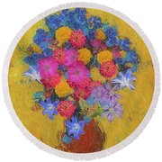 Round Beach Towel featuring the photograph Summer Flowers by Vladimir Kholostykh