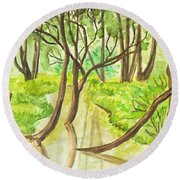 Summer Landscape, Painting Round Beach Towel