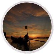 Sunrise On Koh Tao Island In Thailand Round Beach Towel