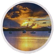 Sunrise Waterscape With Clouds And Boats Round Beach Towel