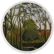 Round Beach Towel featuring the painting The Banks Of The Bievre Near Bicetre by Henri Rousseau