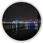 Round Beach Towel featuring the photograph The Harbor View by Mark Dodd