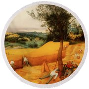 Round Beach Towel featuring the painting The Harvesters by Pieter Bruegel The Elder