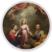 Round Beach Towel featuring the painting The Heavenly And Earthly Trinities by Bartolome Esteban Murillo
