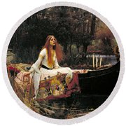 Round Beach Towel featuring the painting The Lady Of Shalott by John William Waterhouse