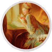 Round Beach Towel featuring the painting The Love Letter by Jean Honore Fragonard