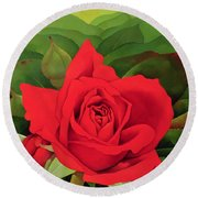 The Rose Round Beach Towel by Myung-Bo Sim
